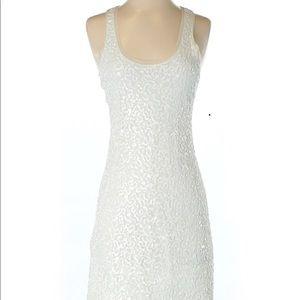 White Sequin Mini Tank Dress XS